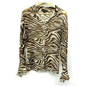 Komarov Womens Blouse Zebra Brown Button Up XL